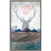 Green Leaf Art 'Deer and Mountains 2' Framed Graphic Art on Canvas