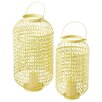 CBK 2-Piece Lattice Pillar Metal Lantern Set