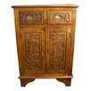 Grand International Decor Hand Carved 2 Drawer Cabinet