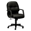 HON Pillow-Soft Mid-Back Leather Conference Chair with Arms