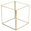 Cube Geometric Table Glass Terrarium - Color: Gold, Size: 4.72 inch High x 4.72 inch Wide x 4.72 inch Deep - Koyal Wholesale Planters