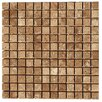 """Faber Noce 1"""" x 1"""" Travertine Tumbled Mosaic in Brown"""