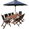 Rowlinson Bali 8 Seater Dining Set with Parasol