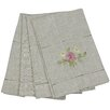 Xia Home Fashions Ribbon Embroidery Rose on Natural Linen with Hemstitch Tea Towel (Set of 4)