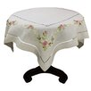 Xia Home Fashions Ribbon Embroidery Rose on Natural Linen with Hemstitch Table Topper