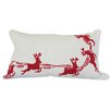 Xia Home Fashions Santa's Sleigh with Bells and Reindeer Crewel Embroidery Holiday  & CottonLumbar Pillow