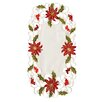 Xia Home Fashions Poinsettia Lace Embroidered Cutwork Tray Cloth (Set of 4)
