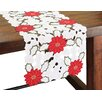 Xia Home Fashions Holiday Poinsettia Embroidered Cutwork Table Runner