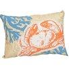 Xia Home Fashions Coastal Applique Crab with Print Coral Decorative Lumbar Pillow
