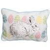 Xia Home Fashions Bunny Eggs Printed Applique Easter Decorative Jute Lumbar Pillow