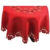 Xia Home Fashions Festive Poinsettia Embroidered Cutwork Christmas Table Cloth