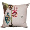 Xia Home Fashions Noel Ornaments Embroidered Holiday Linen Throw Pillow