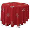 Xia Home Fashions Snowy Noel Embroidered Snowflake Christmas Round Tablecloth