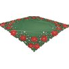 Xia Home Fashions Holly Leaf Poinsettia Embroidered Cutwork Holiday Table Cloth