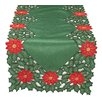 Xia Home Fashions Holly Leaf Poinsettia Embroidered Cutwork Holiday Table Runner