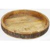 Manor Luxe Villa Artisan Rustic Wood Spanish Olive Round Tray