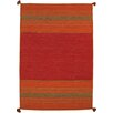 Pasargad Kilim Hand-Woven Red Area Rug