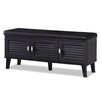 Wholesale Interiors Sheffield 3 Door Wood Entryway Storage Cushioned Bench Shoe Rack Cabinet Organizer