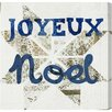 Oliver Gal Star Noel Blue Textual Art on Canvas