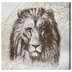 """Oliver Gal """"Geometric Lion A"""" by Canyon Gallery Painting Print on Wrapped Canvas"""