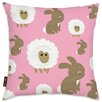 Oliver Gal Easel Sheep Bunny Pink Throw Pillow
