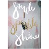 "Oliver Gal ""Smile Sparkle Shine"" by Runway Avenue Textual Art on Canvas"