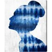 Oliver Gal Flower Built Indigo Graphic Art on Wrapped Canvas