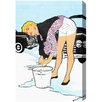 "Oliver Gal ""Vintage Car Wash"" by Runway Avenue Graphic Art on Wrapped Canvas"