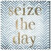 Oliver Gal Oliver Gal Seize the Day Blue Textual Art on Wrapped Canvas