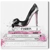 Oliver Gal 'Black Shoe and Pink Lady Books' Graphic Art on Wrapped Canvas