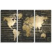 Oliver Gal 'Mapamundi Musicale Night Triptych' Graphic Art on Wrapped Canvas