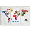 Oliver Gal 'Hipster Mapa Mundi Triptych' Graphic Art on Wrapped Canvas