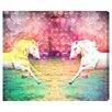 Oliver Gal Burst Creative Unicorns Dusk Graphic Art on Wrapped Canvas