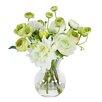 Jane Seymour Botanicals Dahlias and Ranunculus in Glass Vase