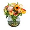 Jane Seymour Botanicals Ranunculus in Glass Ball Vase