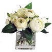 Jane Seymour Botanicals Ranunculus and Wild Buttons in Square Vase
