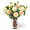 Jane Seymour Botanicals Dahlia Bouquet in Footed Glass Vase