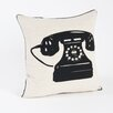 Saro Hello Telephone Design Throw Pillow