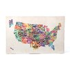 Trademark Fine Art 'US States Text Map' by Michael Tompsett Graphic Art on Canvas
