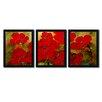Trademark Fine Art Poppies 3 Piece Painting Print on Framed Canvas Set