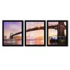 Trademark Fine Art Brooklyn Bridge Pano I by Moises Levy 3 Piece Framed Photographic Print Set