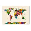 """Trademark Fine Art """"Map of the World Watercolor II"""" by Michael Tompsett Graphic Art on Wrapped Canvas"""