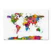"""Trademark Fine Art """"Map of the World Watercolor"""" by Michael Tompsett Graphic Art on Wrapped Canvas"""