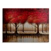 "Trademark Fine Art ""Parade of Red Trees"" by Rio Painting Print in Brushed Aluminum"