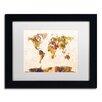 """Trademark Fine Art """"Map of the World"""" by Michael Tompsett Framed Graphic Art"""