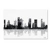 "Trademark Fine Art ""Houston Texas Skyline BG-1"" by Marlene Watson Graphic Art on Wrapped Canvas"