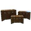 Entrada 3 Piece Faux Leather Trunk Set