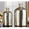 Entrada 2 Piece 2 Tone SIlver Vase Set