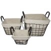 Entrada 3 Piece Square Wire Basket with Linen Set