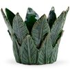Leaf Porcelain Cachepot - Color: Dark Green - Chelsea House Planters